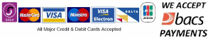 We accept all major credit and debit cards, as well as BACS payments on all our work