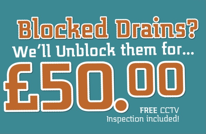 Blocked Drains Cleared For £50.00 Offer